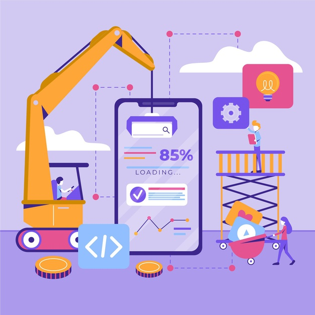 app-development-concept-with-phone-crane_23-2148699779